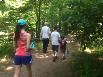 Family Taking a walk in the woods