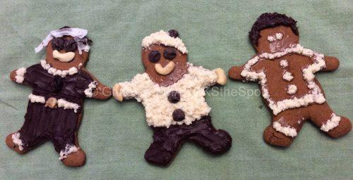 Three gluten-free gingerbread cookie shop deco