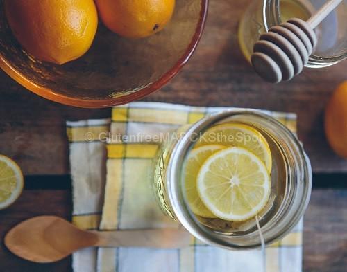 gluten-free lemons in water with honey