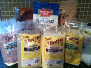 Multiple gluten-free flours to use in your gluten-free baked goods