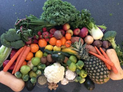rainbow of colorful gluten-free fruit and veggies