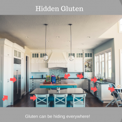Kitchen with arrows pointing to all the hidden gluten that may be found there