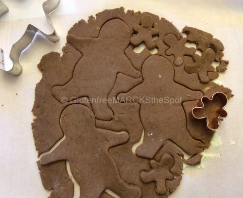 Gluten-free gingerbread dough, cutting out gingerbread men
