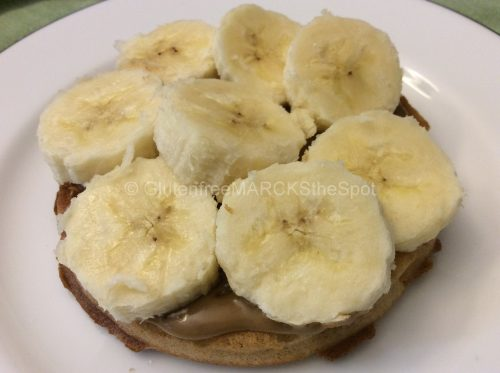 gluten-free breakfast sunbutter and banana on a waffle