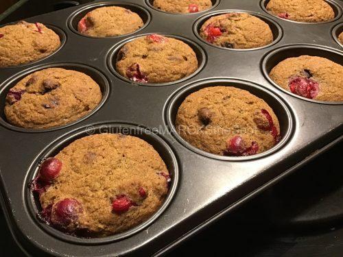 gluten-free cranberry chocolate chips muffins